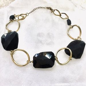 Black Stone (Glass) and Metal Costume Necklace